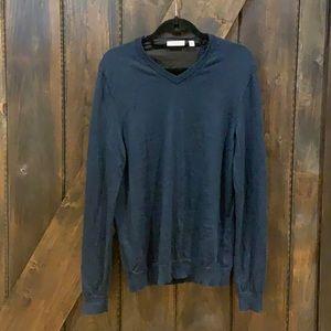 Men's Blue Calvin Klein Merino Wool long sleeve vneck top